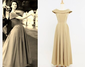 1940s Golden Sand Faille Full Skirt Evening Gown
