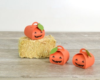 Halloween Pumpkin Jack-o-Lantern Miniature Favor Boxes set of 12
