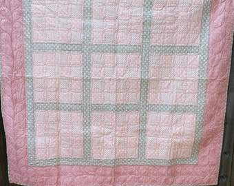 Baby Quilt Toddler Child Quilt Handmade Patchwork Pink and Grey Fabric Crib Quilt, 54 x 54, lap quilt throw, handmade quilt, baby quilt