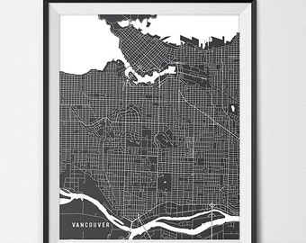 Vancouver map etsy vancouver bc map art print vancouver city map of vancouver art poster of bc canada gumiabroncs Choice Image
