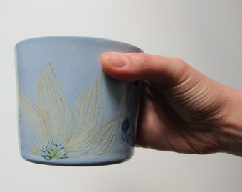 Handmade large blue porcelain cup with hand painted flower decoration, for drinking or snacks & desserts.