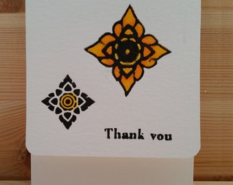 Letterpress and Hand Painted Mini Thank you Note card or Gift Tag | Thai Graphic| Black Outline | Hand Painted in Yellow
