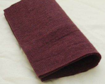 "100% Wool Felt Fabric - Approx 3mm - 5mm Thick - 30cm / 12"" Square Sheet - Aubergine Purple"
