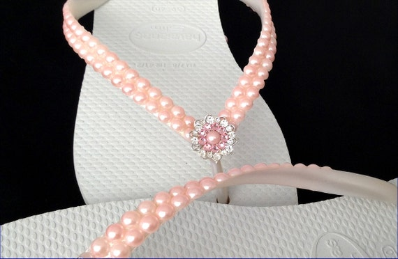 Pearl Havaianas Slim Flip Flops Pearls Blush Pink Light Rose Jewels w/ Swarovski Crystal gem Silver Filigree BridesMaids Beach Wedding shoes