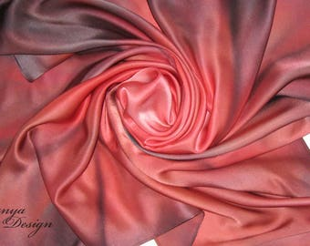 Pure Silk Scarf Hand Painted. Women's Pure Silk Square Scarf - Ruby, Bordeaux.