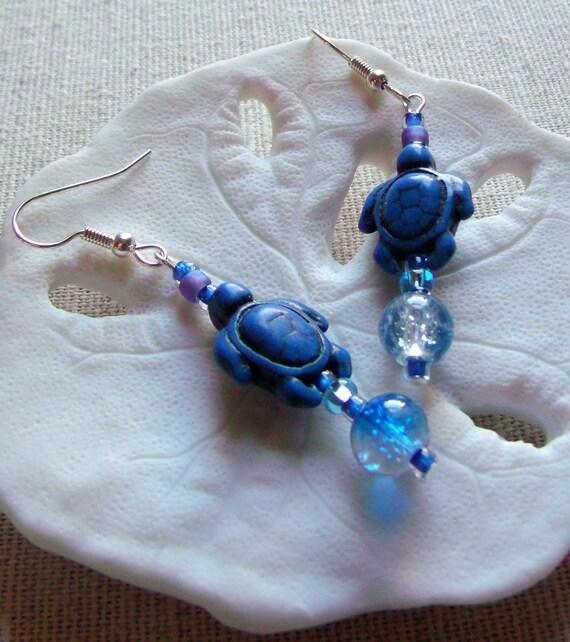 Blue Turtle earrings - aqua crackle beads - dangle earrings - howlite turtle earrings - animals - 1.5 inch long - Gift - Lizporiginals