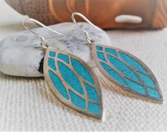 Ethnic earrings - Nepal Tibet - Turquoise Silver