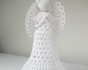 Flat angel. White tall crochet angel. Angel decoration. Christmas angel decor. Angel ornament. Christmas tree topper angel. Do it Yourself