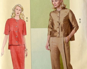 Today's Fit Sandra Betzina V8093 Vogue Sewing Pattern Casual Ensemble Blouse Skirt Pants Welt Pockets Back Leg Seam UNCUT FF Bust 32-36