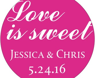 80 - 2 inch Glossy Personalized Waterproof Wedding Stickers Labels - hundreds of designs to choose from - change design to any color WR-074