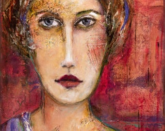 Female Portrait - Expressive Acrylic and Mixed Media Painting on HQ Canvas - Expressive Art - Annabelle - Figurative Abstract Art of Women