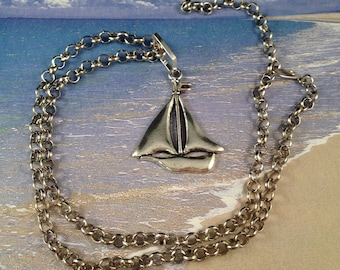 Sailboat Charm Necklace on Adjustable 27 Inch Antique Silver Chain, One of a Kind,  Pendant is 2.5 Inches Long Previously 25 Dollars ON SALE