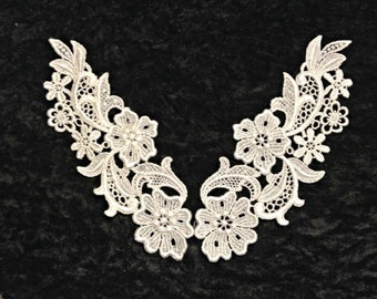 Ivory or White Venise Lace Applique Pair for Bridal, Apparel or Crafts