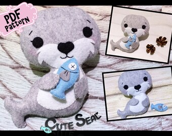 PDF Pattern Felt Toy Pattern ~ Cute Seal