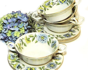 Four Double Handled Cream Soup Bowls and Underplates Green and Blue Floral