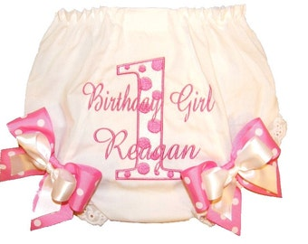 Personalized Birthday Baby Girl Diaper Cover Bloomers Pink & White Double Bows