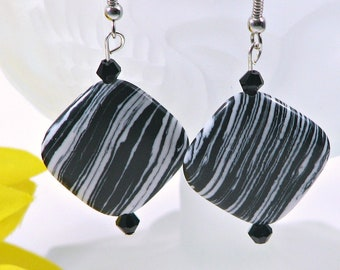 Black and white striped earrings