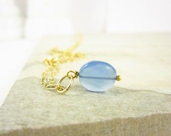 Baby Blue Chalcedony Pendant - 14k Gold Charms - Wire Wrapped Jewelry Handmade - Something Blue Gemstone Jewelry - JustDangles