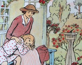 1929-Book Plate-Lithograph-A. E. Jackson-Little girl-Roses--Flowers-Garden-Nursery-Home-Wall decor