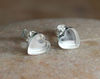 Heart Post Stud Earrings 8 mm in Sterling Silver, Love Earrings, Ready to be Set with Your Own Stones, Blanks, Supplies, Empty Earrings