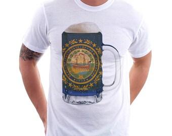 New Hampshire State Flag Beer Mug Tee, Unisex Home State Tee, State Pride, State Flag, Beer Tee, Beer T-Shirt, Beer Thinkers, Beer Lovers T
