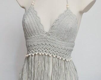 Fringe light gray halter top, Hippie style crochet halter top, music festival top