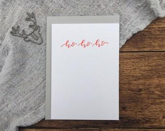 Ho Ho Ho Christmas Letterpress Card. Christmas Card. Greeting Card. Letterpress. Red Christmas Card. Simple Card.