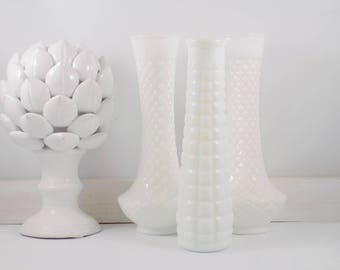 White Milk Glass Vases,white glass,vase,bud vase,EO Brody,mid century modern,white,vintage decor