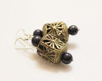 African Brass Earrings, Lapis Earrings, Ethnic Earrings, Tribal Jewelry