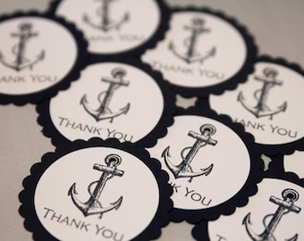 Navy Anchor Thank You Party Favor Gift Tags, Nautical Theme Wedding Favor Gift Tags Set , Nautical Thank You Tags, Baby Shower Favor Tags