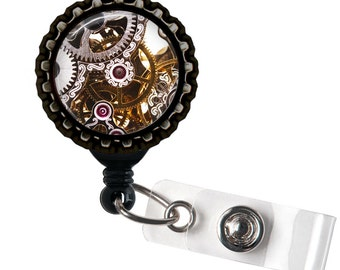 Clockwork - Black Retractable Badge Reel ID Holder