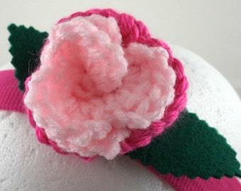 Serre tête Rose - claire Rose Rose et chaude sur bandeau extensible rose chaud (GTS-HH-MPPP01)