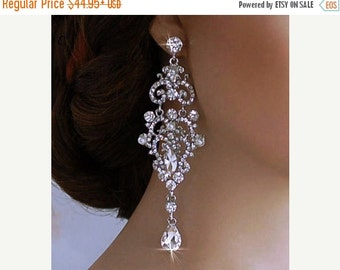 Weddings Jewelry Bridal Earrings Party Bride Crystal Dangle Long Accessory Chandelier Accessories Pageant Wedding Prom Drop Brides Gift 123
