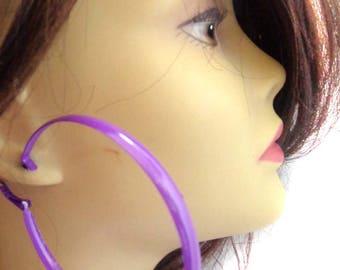 Large 3 inch VINTAGE HOOP earrings Green Purple or Blue Earrings Thick Hoop Earrings