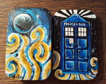 Doctor Who Handpainted ALTOIDS tin Tardis with swirls  Dr. Who survival kit acrylic sealed