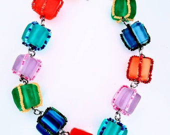 Funky quirky cube ,and bead necklace