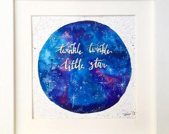Twinkle Twinkle Little Star Galaxy Sky Watercolour Painting