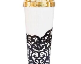 Black Lace Travel Mug