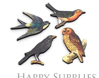 4Pcs Mini Handmade Wooden Laser Cut Bird Animal Charms / Pendants (CW076)