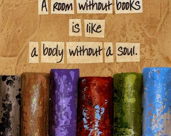 Book Painting with quote..A Room Without Books...Canvas print from original painting...ready to hang right out of the box!