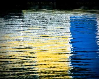 Abstract Art Water Reflections Marina Nautical Photograph Wall Decor