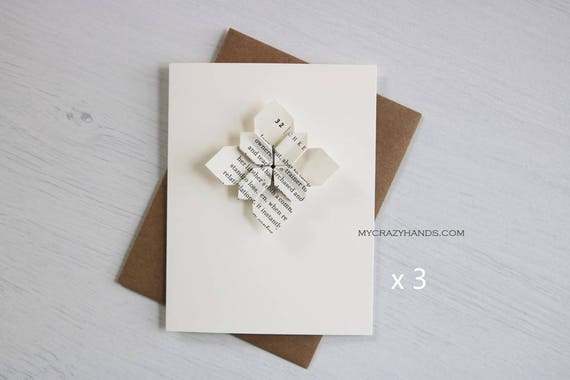 3 Origami Cards Origami Flower Greeting Cards Wedding