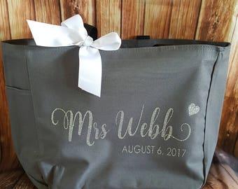 Bridal Tote, Bride Bag, Bridesmaid Tote,  Bridesmaid Bag, Personalized Tote, Custom Tote Bag,Polyester Tote Bag, Team Bride, Tote Bag