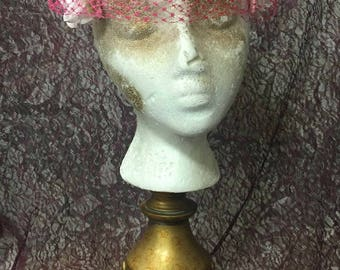 Hat, Pink Flowers, Hot Pink Net, Vintage, Union Made