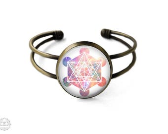 Metatron's Cube Cuff Bracelet | Metatron Bracelet Galaxy Bracelet Bangle Sacred Geometry Jewelry Platonic Solids Boho Jewelry Grunge Jewelry