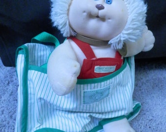 cabbage patch koosas cat/kitten 1983-4 with green striped carry /diaper bag vintage