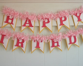 Yellow and Pink Birthday Banner - Happy Birthday Banner - Birthday Decoration - Birthday Garland - Birthday Photo Prop - Pink Lemonade Party