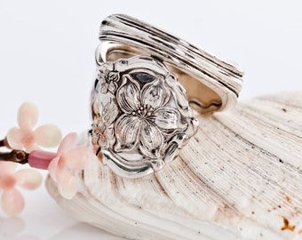 Vintage Spoon Ring - Orange Blossom Spoon Ring - Silverware Spoon Ring - Spoon Ring - Flower Silverware Ring - Silverware Jewelry (mcf168)