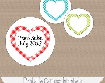 Printable and Editable Canning Jar Labels, 2 inch, Gingham Hearts