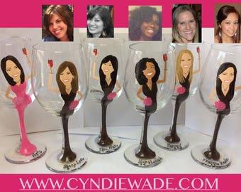 Free Bride! Portrait Bridesmaid Wedding Wine Caricature Glasses